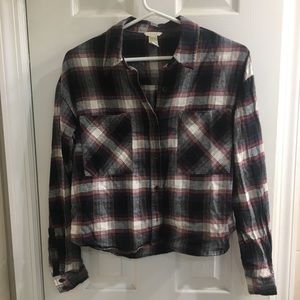 Forever 21 Cropped Flannel Top Size Small